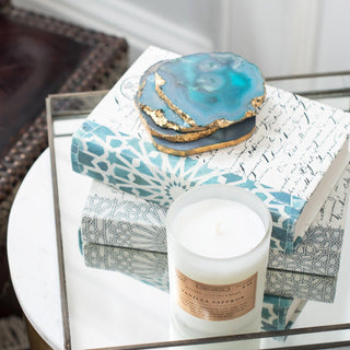 Sets - MAJORELLE 8 PC SET <br>Agate Coasters, Mirrored Tray, Candle, Books