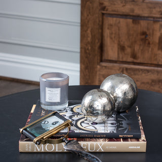 Sets - MAXWELL 6PC SET <br>Silver Spheres, Magnifying Glass, Candle, Books