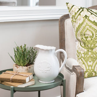 Sets - MEADOW BROOK 4 PC SET<br> White Pitcher, Burlap Books, Herbs In Planter