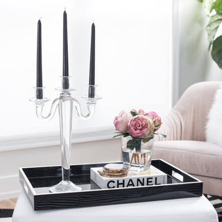 Sets - MIA 8PC SET <br>Glass Candelabra, Tray, Coasters, Roses, Book