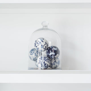 Sets - PAX 7 PC Set <br> 6 Blue & White Ceramic Spheres In Bell Jar