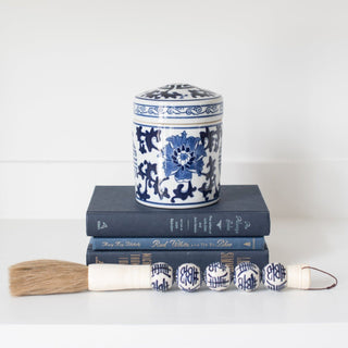 Sets - SAGE 4 & 5 PC SETS <br>Blue & White Jar,  Books, Calligraphy Brush