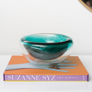 Sets - SUZANNE 2PC SET <br>Emerald Green Glass Bowl, Designer Book