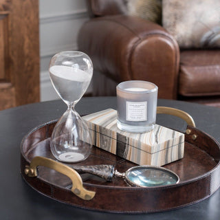 Sets - TELLURIDE 5PC SET <br>Leather Tray, Magnifying Glass, Hourglass, Box, Candle