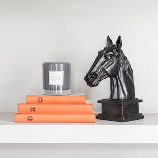 Sets - TYLER 5 PC SET <br>Horse Sculpture, Orange Books, Grey Candle