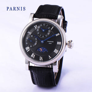PARNIS Classic KSK 40mm Sun/Moon Phase Black Dial Mechanical - Moment at Hand