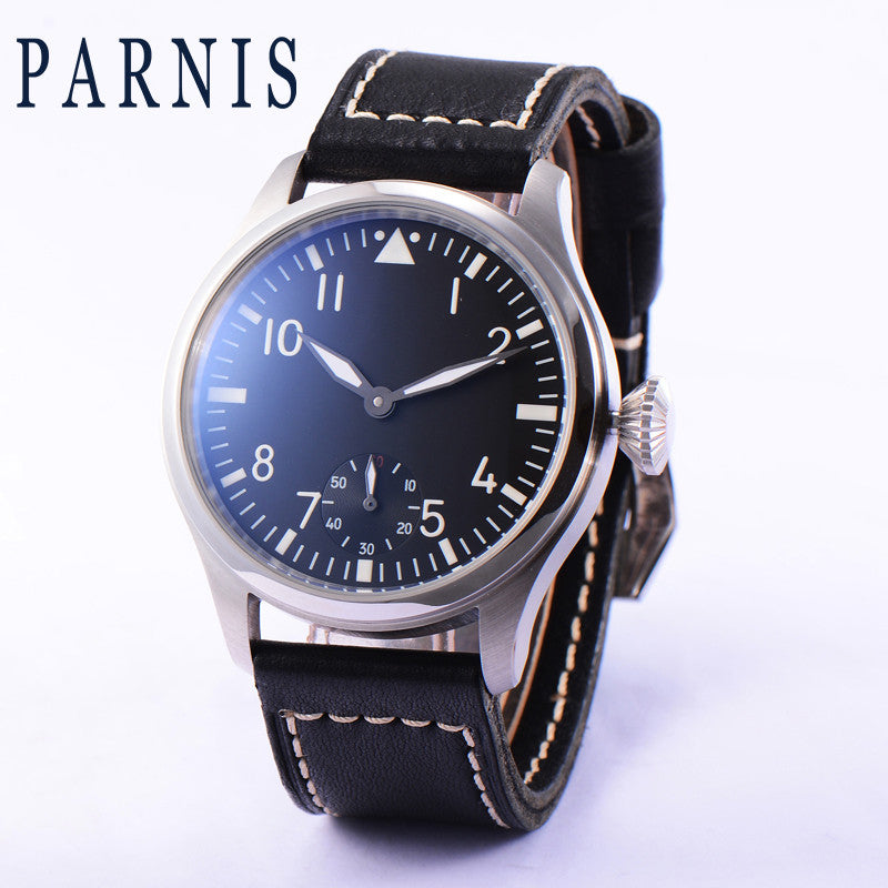 PARNIS Aviator ST-KSK 43mm Black Dial Mechanical - Moment at Hand
