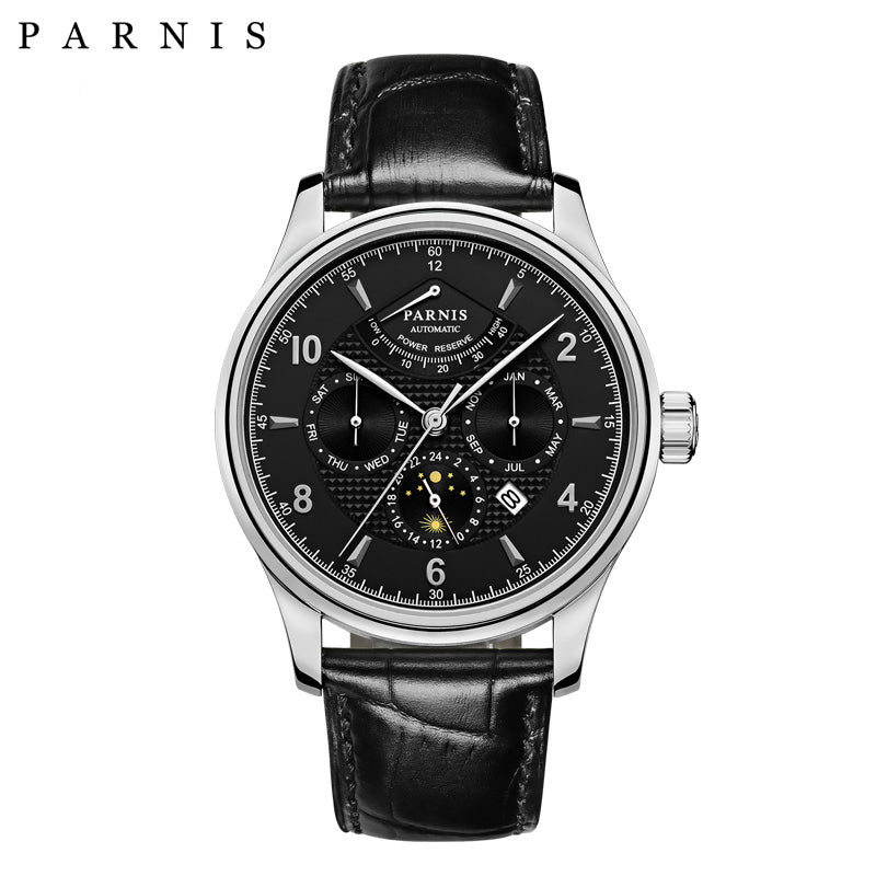 PARNIS PA6062-B Pilot Series Quad Dial Power Reserve Automatic - Moment at Hand