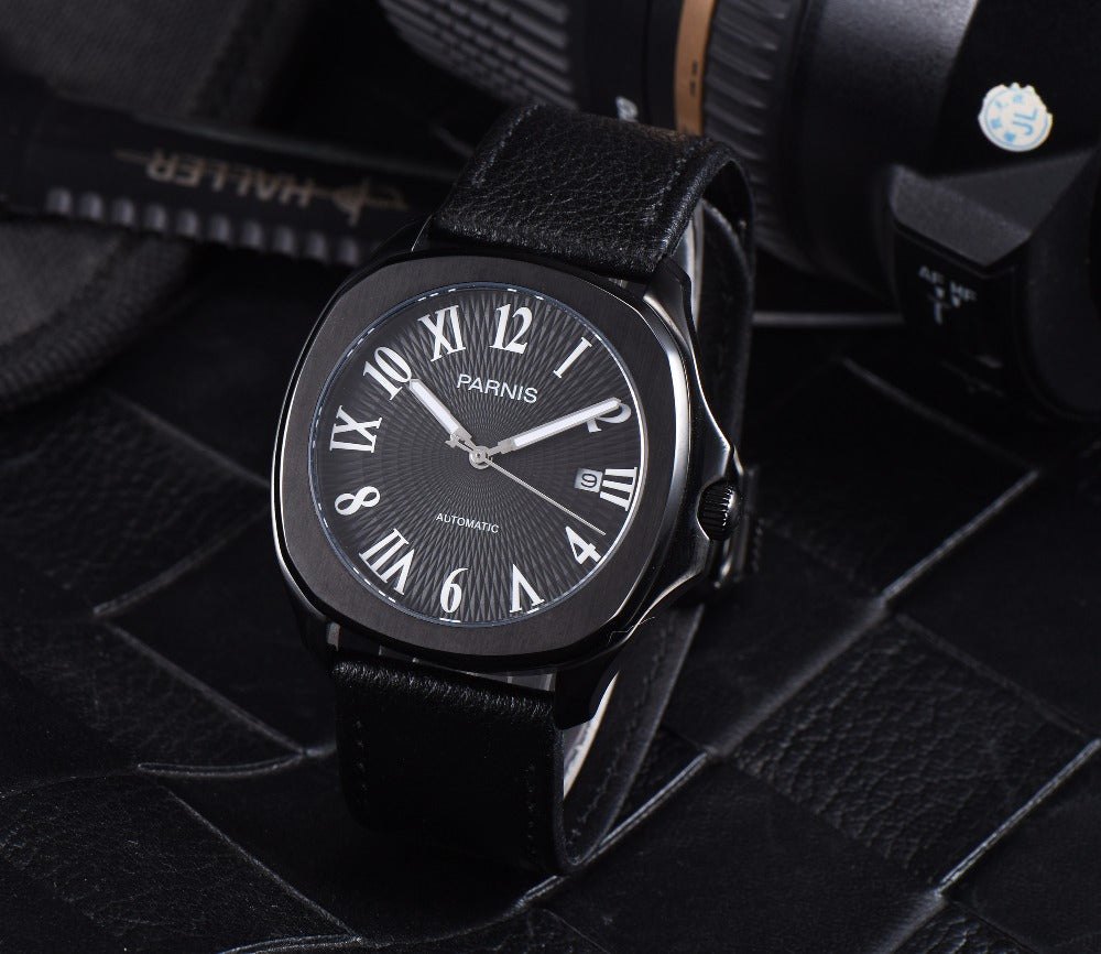 Parnis Aquatek Roman Dial with Leather Bracelet - Moment at Hand