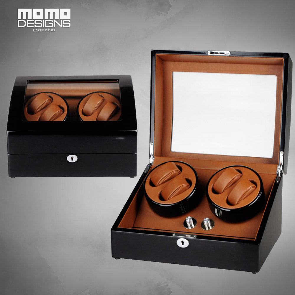 Momo Designs 4 Piece Glass Top Watch Winder - Moment at Hand