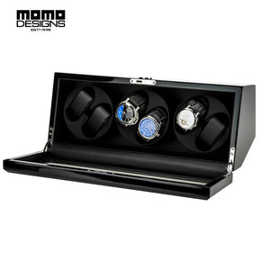 Momo Designs 4 to 12 Piece Piano Black Watch Winder & Case - Moment at Hand