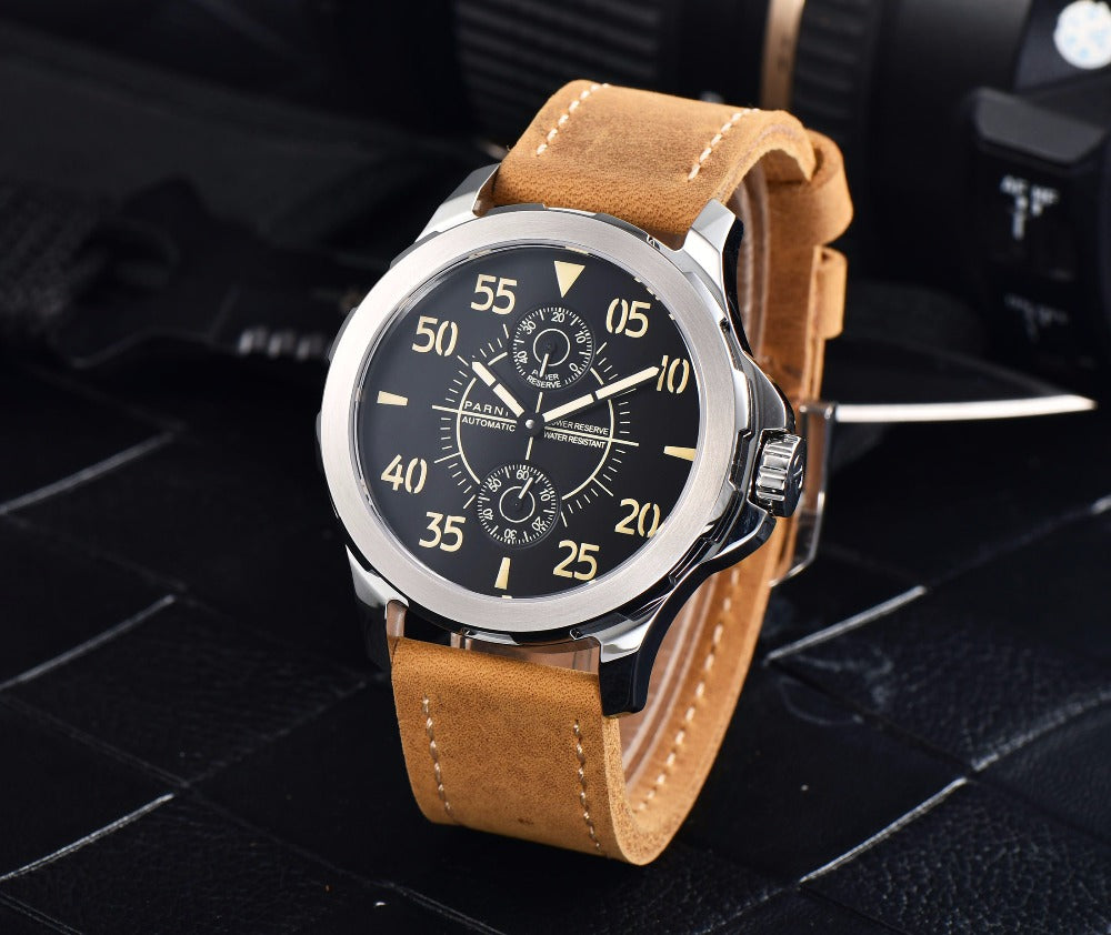 PARNIS PA6073-1 Modern Military Power Reserve Automatic - Moment at Hand