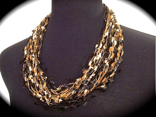 Black & Gold Confetti Necklace