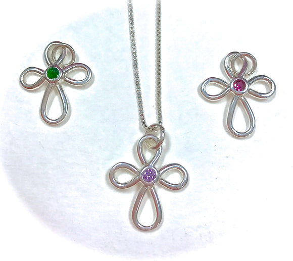 Jewelry-Birthstone Crosses,Sterling Silver
