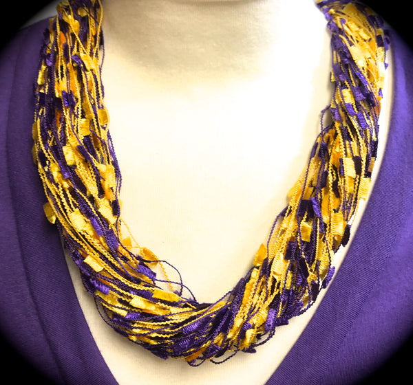 Purple & Gold Confetti Necklace