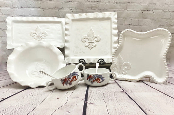 Ceramics & Platters  - White Ruffle Fleur de Lis Serving Collection