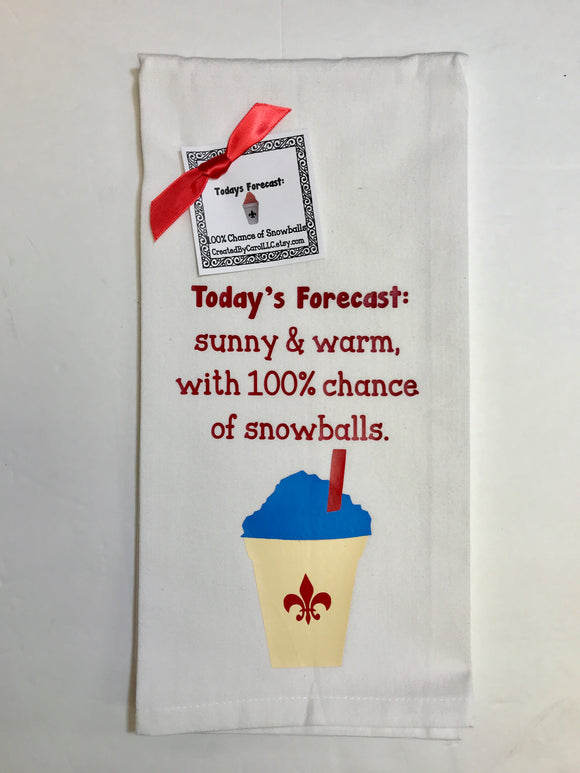 100% Chance Of Snoballs Dish Towel