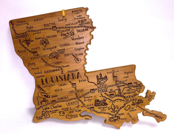 Louisiana Map Cutting Board