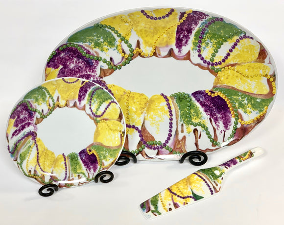 Ceramics & Platters - Mardi Gras King Cake Serving Pieces