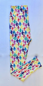 Multi Color Fleur de Lis Leggings