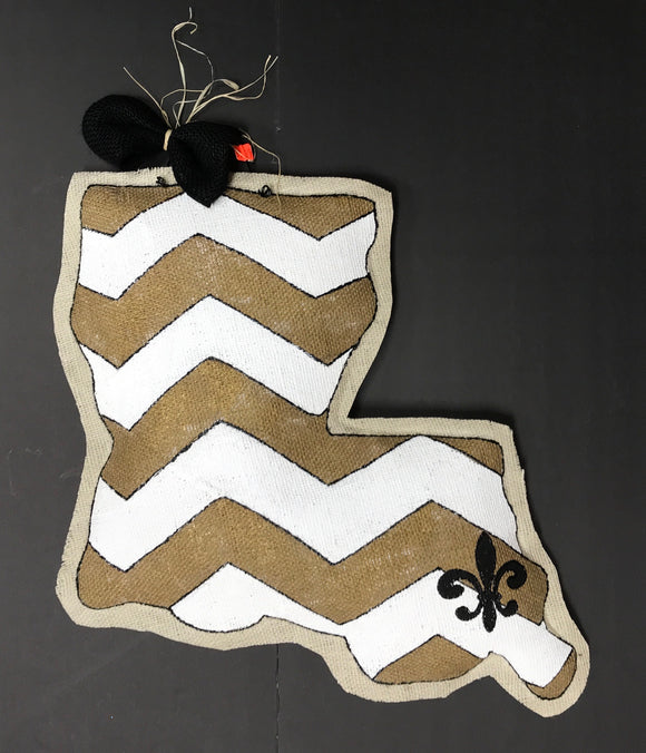 Door Hangers - La. Chevron  Burlap Door hanger
