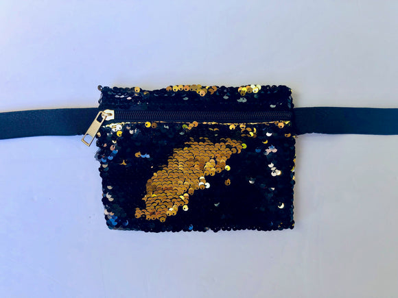 Black & Gold Mermaid Sequin Clutch/Fanny Pack