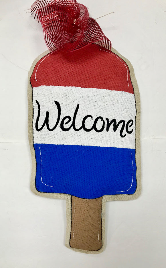 Door Hanger-Popsicle Red, white & Blue Burlap Door Hanger