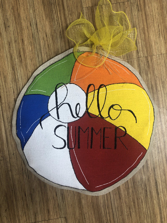Door Hanger- Beach Ball Burlap Door Hanger