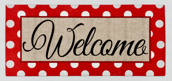 Door Mat - Red Polka Dot Welcome Switch Mat Insert
