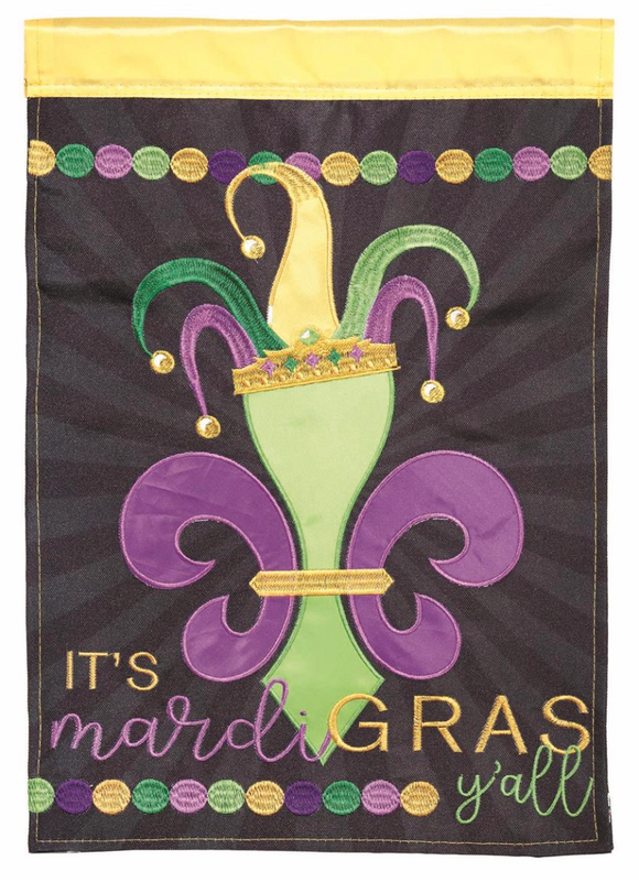 Flags - It's Mardi Gras Y'all Fleur De Lis Jester