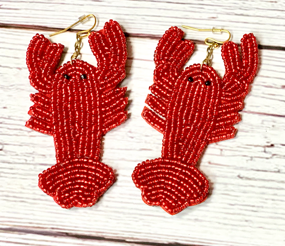 Jewelry - Beaded Crawfish Earrings