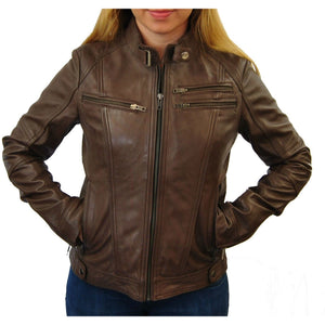 Clearance Womens Brown Medium Leather Jacket