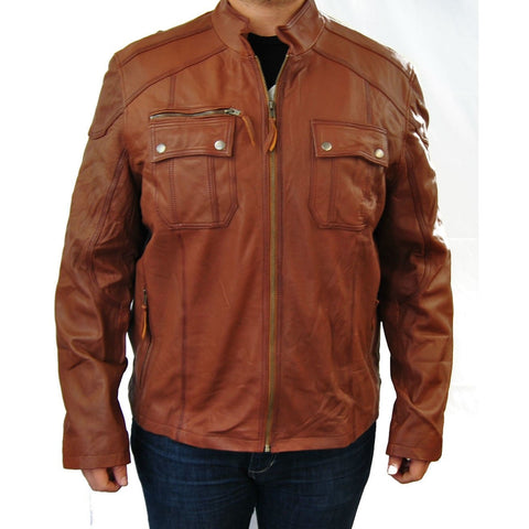 Clearance Mens Tan XL Leather Jacket