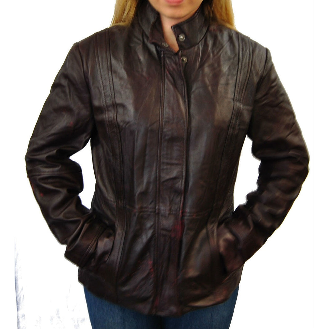 Clearance Womens XK Burgundy Leather Jacket