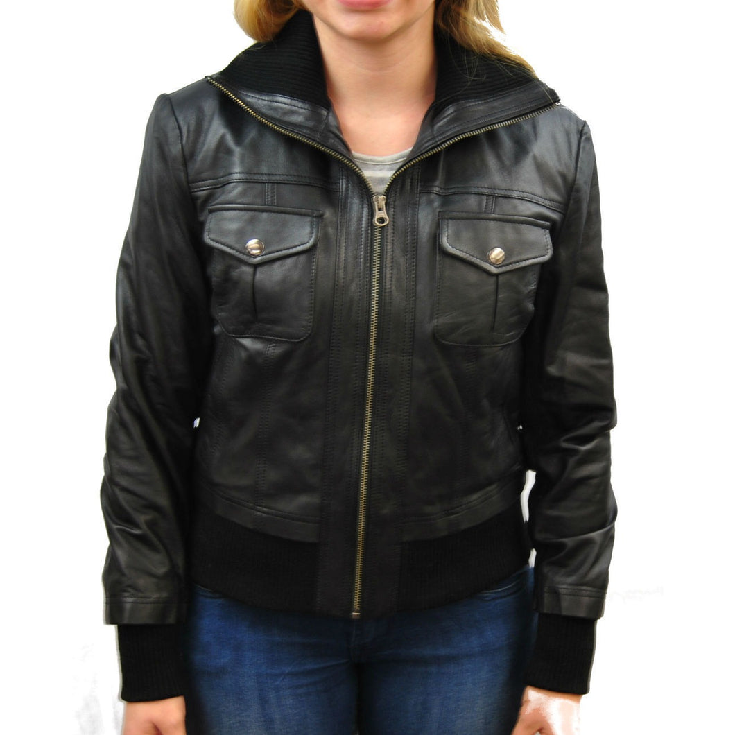 Clearance Womens Large Black Leather Bomber Jacket
