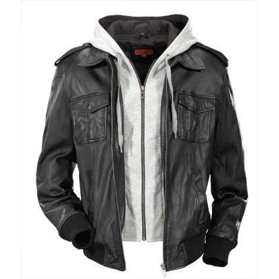 Mens Biggs Hooded Leather Jacket