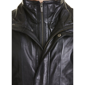 Mens Lambskin Leather Coat with Fur Lining