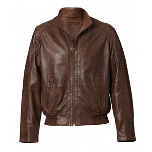 Mens Austin Leather Bomber Jacket