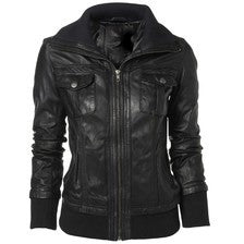 Womens Bailey Leather Bomber Jacket