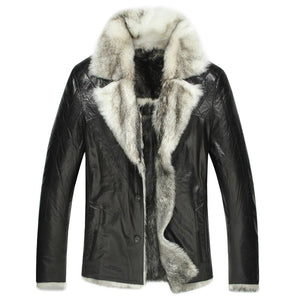 Mens Shearling Fur Lined Leather Coat