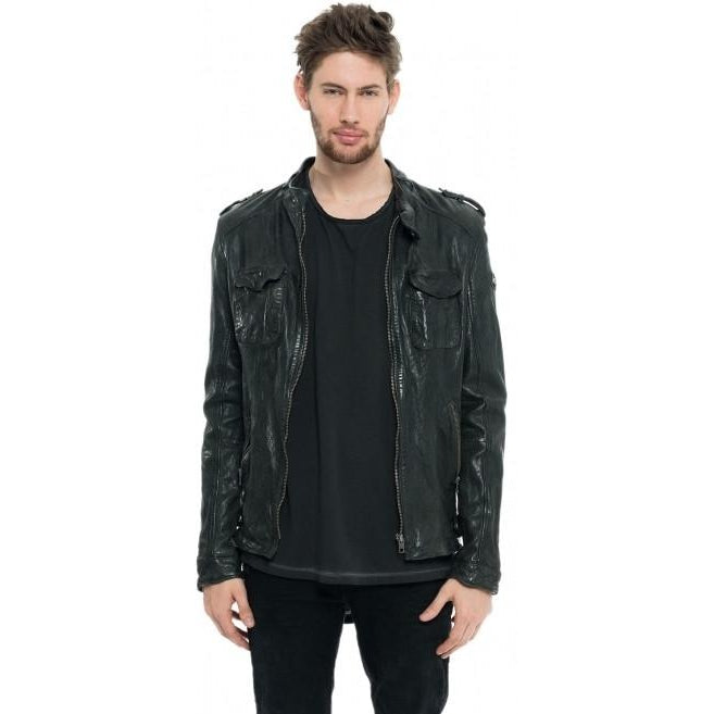 Mens Jasper Washed Leather Jacket