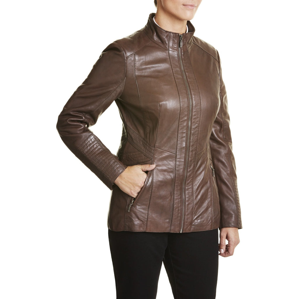 Womens Fitted Leather Coat