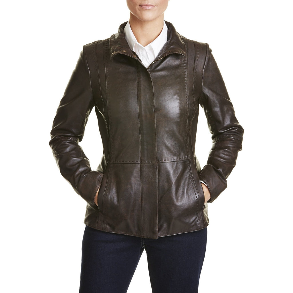 Womens Distressed Leather Jacket