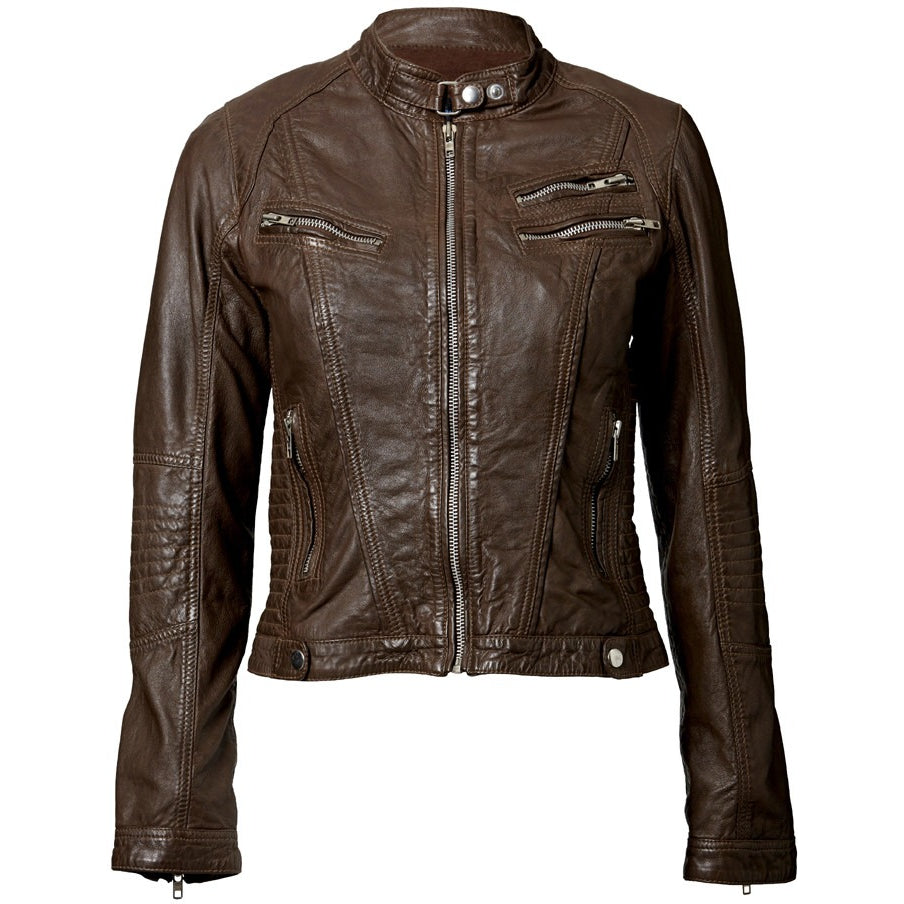 Womens Leather Jacket with Crumpled Finish