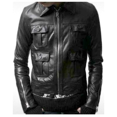 Mens Stanton Leather Bomber Jacket