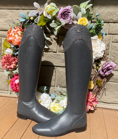 gray leather with gray reptile print cuffs dressage boots