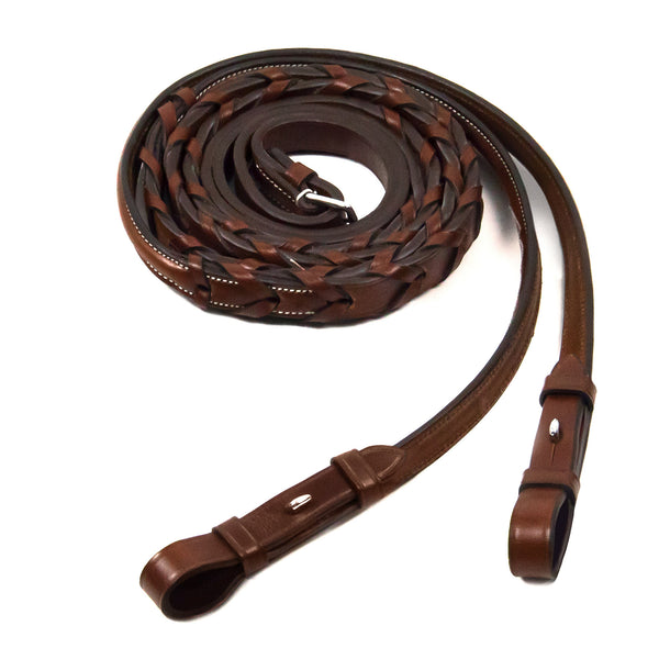 Schockemohle Hunter Laced Fancy Reins With Hook & Stud