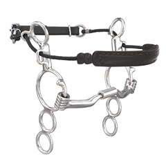 Myler Stainless Steel 3-Ring Combination Bit 6 inch Shank with Sweet Iron Low Port Comfort Snaffle