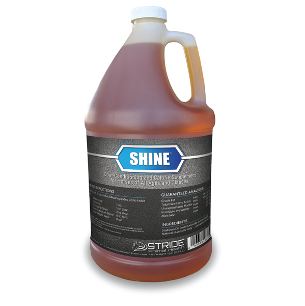 Shine coat-conditioning and calorie supplement for horses of all ages and classes, stride animal health