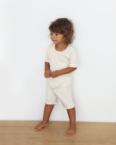 BABY TEE AND SHORTS SET - NATURAL